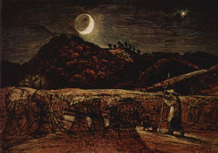 Palmer, Samuel: Cornfield in the Moonlight. Landscape Fine Art Print.